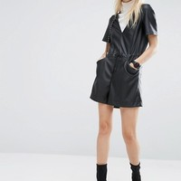 ASOS Leather Look Casual Romper at asos.com