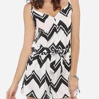 Casual Loose Fitting Dacron Printed Zigzag Striped Rompers