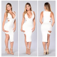 All White Deep V Neck Bodycon Dress
