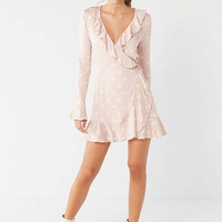 UO Long Sleeve Ruffle Wrap Dress | Urban Outfitters