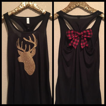 Deer Glitter Tank - Buffalo Plaid Bow - Ruffles with Love - Womens Fitness
