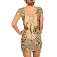 Gold Lace Bow Back Dress