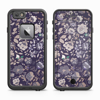 Lilac and Green Highlighted Floral Impressions Skin for the Apple iPhone LifeProof Fre Case
