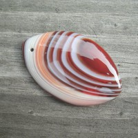 Banded Agate, olivary shape, marquis, polished and drilled for DIY jewelry supply, banded with red tones, white, peach color, pendant stones