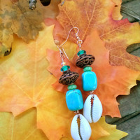 Boho Earrings / Boho Jewelry / Boho Hippie Earrings / Hippie Turquoise Earrings / Yoga Earrings / Boho Earrings/Sea Shell Earrings