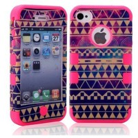 MagicSky PC + Silicone Galaxy Tribal Pattern Case for Apple iPhone 4/4S - 1 Pack - Retail Packaging - Hot Pink