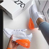 Nike Air Max 270 White/Total Orange Running Shoes - Best Deal Online