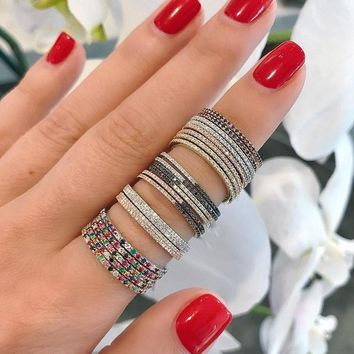 gold black multi color eternity band delicate rainbow cz cute girl women colorful beautiful full cz stack skinny ring
