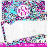 Monogram License Plate Frame Holder Metal Sign Car Truck Tags Personalized Custom Vanity Hot Pink Aqua Paisleys  Lilly Inspired