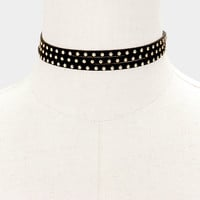 "72"" stud faux suede wrap tie choker collar necklace"
