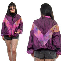 vintage 90s purple tie dye windbreaker jacket CUTE new wave bomber jacket kawaii cyber grunge pastel grunge medium