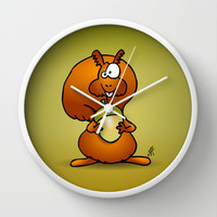 Squirrel Wall Clock by Cardvibes