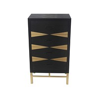 """Side Tables - 14"""" x 23"""" x 40"""" Black & Gold, 4 Drawer - Side Table"""