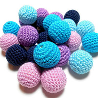Crocheted Beads, Wood Beads, 24 Pcs, 22mm Beads, Round Beads, Large Beads, Natural Wood, Teething Beads, Nursing Necklace, Craft Supplies