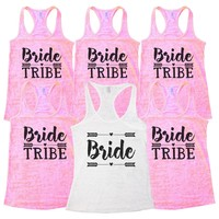 """Wedding Bridal Party and Bridesmaid Tank Tops  - """"Bride Tribe"""" Getting Married Gift"""
