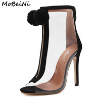 MoBeiNi Women High Heel Peep Toe Transparent Clear Ankle Boots Summer Fuzzy Ball Pompon Gladiator Sandals Bootie Shoes Stilettos
