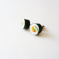 Eco Friendly Sushi Earrings, Hand Painted Jewelry Sustainable - Tuna Sushi Stud Chef Earring Set