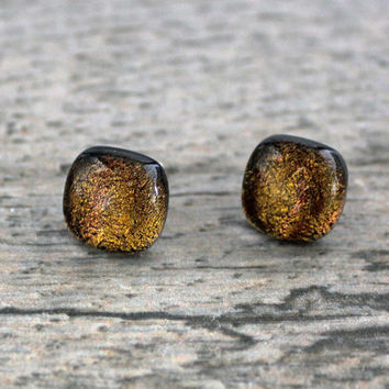Sterling Silver Studs, Amber Fused Dichroic Glass Stud Earrings, Fused Glass Jewelry, Dichroic Earrings, Dichroic Studs, Yellow Studs
