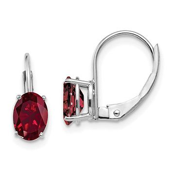 14k White Gold 7x5mm Oval Created Ruby leverback Earrings