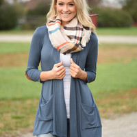 Slate Blue Cardigan w/ Elbow Patches