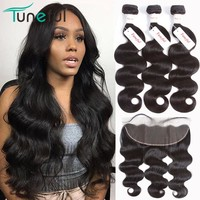 Pre Plucked Lace Frontal Closure With 3/4 Bundles Tuneful 100% Human Hair Weft Non Remy Brazilian Body Wave Bundles With Frontal