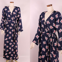 Vintage Mary McFadden Navy Blue White & Red Abstract Floral Polka Dot Tie Belt Robe Lingerie