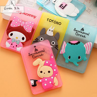 Hot Portable Silicone Bus Card Case Holder Cute Cartoon Kitty Cat Care Student ID Identity Badge Credit Cards Cover With Lanyard