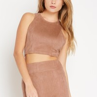 Natural Faux Suede Racerback Crop Top