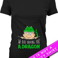 Pregnancy Announcement Shirt Maternity Tops We Are Hoping For A Dragon Pregnancy T Shirt New Mom Shirt Expectant Mother Ladies Tee MAT-531