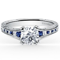 "Kirk Kara ""Stella"" Blue Sapphire Channel Set Diamond Engagement Ring"