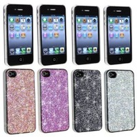 Sparkling Cases Combo Bling Shining Faceplates Compatible With iPhone 4 AT&T Version (4 Colors)