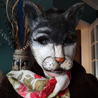Halloween mask paper mache papier mache masquerade cat mask