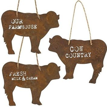Set of 3 Rusty Finish Metal Cow Ornaments