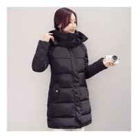 Winter Down Coat Woman Slim Hooded Thick Middle Long  black