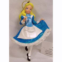 disney parks christmas alice in wonderland glitter ornament new with tag