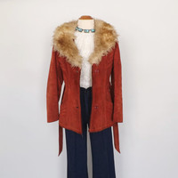 Iconic Vintage 1970s Rust Red Suede Leather Jacket 60s Belted Shearling JACKET Hippie Boho 70s Jacket Indie Almost Famous Coat Fall Jacket