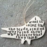 $17.00 i want to sing like the birds bird rumi quote  by mbartstudios