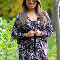 Swooning on Leopard Print Knit Cardigan