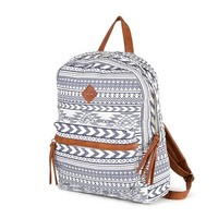 Blue and White Aztec Print Backpack | Claire's