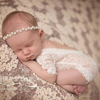 2017 newborn baby lace romper Photography Prop clothes Newborn boy Photo Prop rompers Vintage Newborn Romper White Rompers