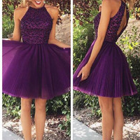 Open Back Halter Purple Beaded Homecoming Cocktail Dresses