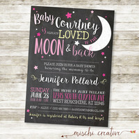 """Love You to the Moon and Back Chalkboard Baby Girl Shower DIY Printable Invitation in Pink and Soft Yellow, 5"""" x 7"""""""