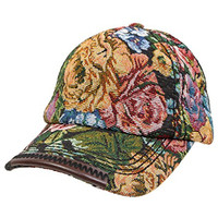 Funky Junque's Black Stitch Vintage Floral Tapestry Baseball Snapback Cap Hat