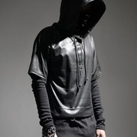 Layered Faux Leather Hoodie and Tee RO5