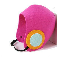 Fall Autumn Winter Eco Felt Vegan Aviator Helmet Hat in Pink with Orange-Seafoam Blue Circle Patches and Black Faux Suede Strap
