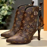 Free shipping-LV women's classic old flower Martin boots #1