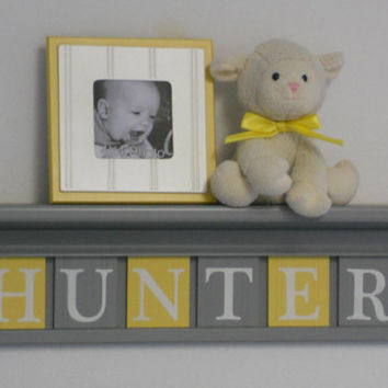 """Baby Boy Room Decoration Name Nursery Decor 24"""" Grey Shelf with 6 Wooden Wall Block Letters Yellow and Gray - HUNTER"""