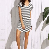 Striped Curved Hem Tshirt Dress