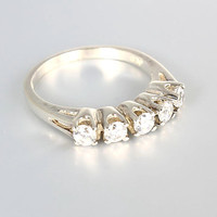 Vintage Sterling silver CZ Wedding Ring five stone anniversary stacking stackable size 6 faux diamond