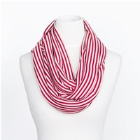 Red and White Stripe Infinity Scarf